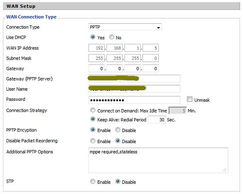 PPTP DD-WRT vpn configuration