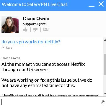 safervpn netflix work or not